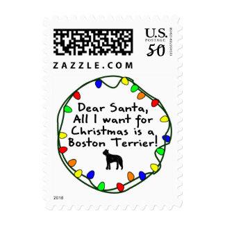 Dear Santa Boston Terrier Postage
