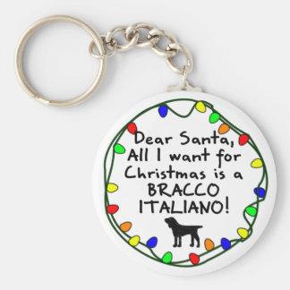 Dear Santa Bracco Italiano Keychain