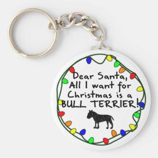 Dear Santa Bull Terrier Keychain