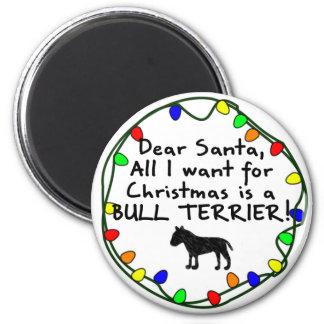 Dear Santa Bull Terrier Fridge Magnets