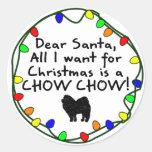 Dear Santa Chow Chow Round Stickers