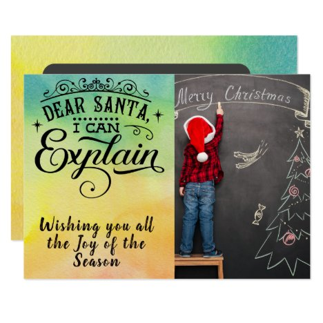 Dear Santa/Christmas Quote/2-Sided Card/Watercolor Card