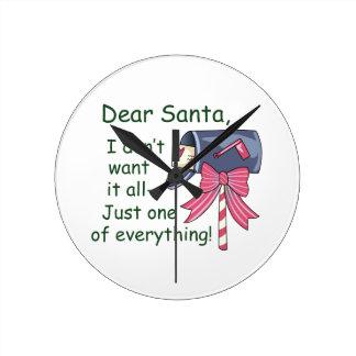 Dear Santa Round Wall Clock