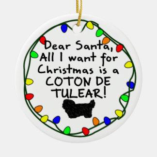 Dear Santa Coton de Tulear Ceramic Ornament