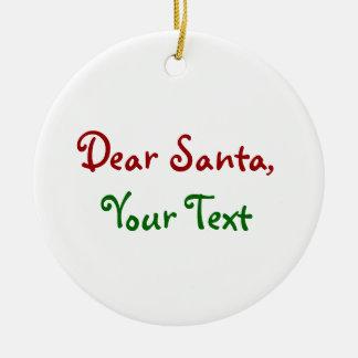 Dear Santa Custom Double-Sided Ceramic Round Christmas Ornament