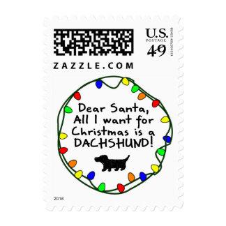 Dear Santa Dachshund Postage Stamp