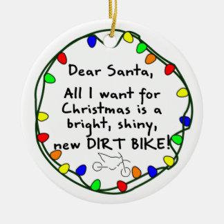 Dear Santa Dirt Bike Christmas Ornament