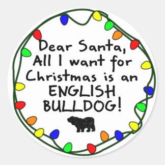 Dear Santa English Bulldog Round Stickers