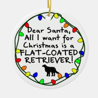 Dear Santa Flat-Coated Retriever Christmas Ornaments