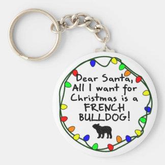Dear Santa French Bulldog Keychain