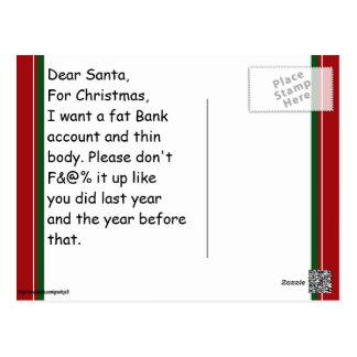Dear Santa....from Adult Woman Postcard