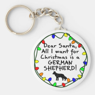 Dear Santa German Shepherd Basic Round Button Keychain