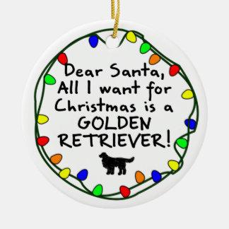 Dear Santa Golden Retriever Ceramic Ornament