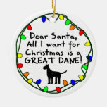 Dear Santa Great Dane Christmas Ornament