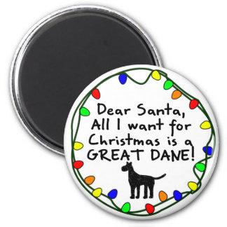 Dear Santa Great Dane Fridge Magnet