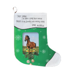Dear Santa Green ADD YOUR HORSE Photo and Name Large Christmas Stocking
