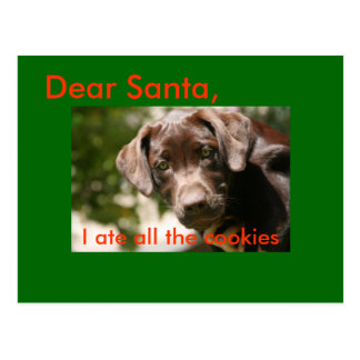 Dear Santa,, I ate all the cookies Postcard