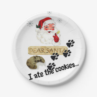 Dear Santa I Ate the Cookies Pet Lovers Plates Dog 7 Inch Paper Plate