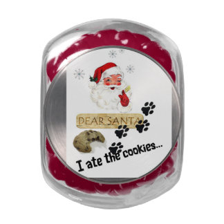 Dear Santa I ate the Cookies - The Dog Christmas Jelly Belly Candy Jars