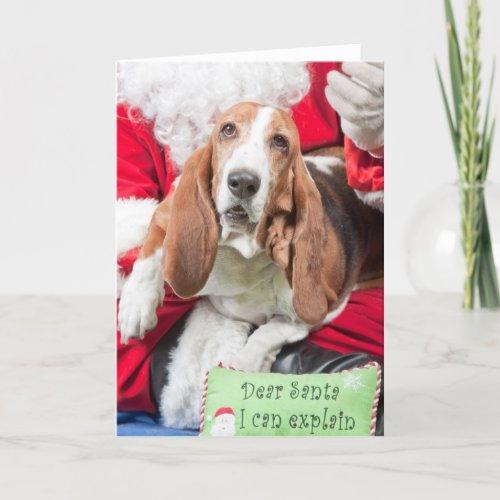 Dear Santa I can Explain Basset Hound Holiday Card
