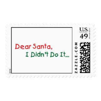 Dear Santa, I Didn't Do It- Funny Letter to Santa Postage Stamp
