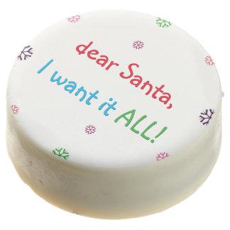 Dear Santa I Want It All Kids Funny Christmas Eve Chocolate Covered Oreo