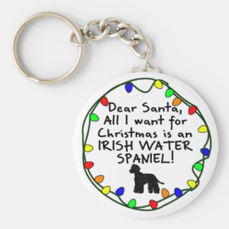 Dear Santa Irish Water Spaniel Keychain