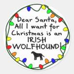 Dear Santa Irish Wolfhound Round Sticker