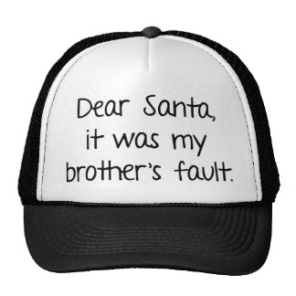 Dear Santa It Was My Brother s Fault Hat