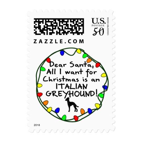 Dear Santa Italian Greyhound Postage