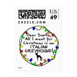 Dear Santa Italian Greyhound Stamp