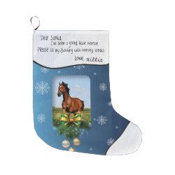 Dear Santa I've Been Good Horse PHOTO FRAME Name Large Christmas Stocking