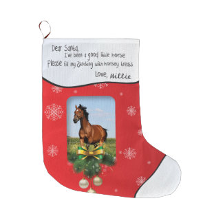Dear Santa I've Been Good Red ADD YOUR PHOTO Name Large Christmas Stocking