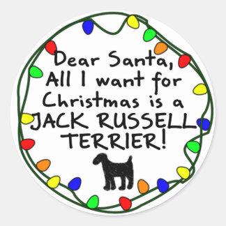Dear Santa Jack Russell Terrier Round Stickers