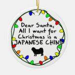 Dear Santa Japanese Chin Christmas Ornaments