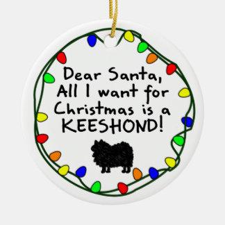 Dear Santa Keeshond Ceramic Ornament
