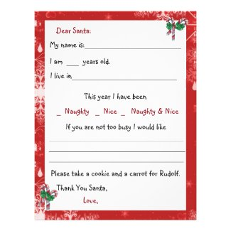 Dear Santa Letter, Candy Canes and Snowflakes Letterhead