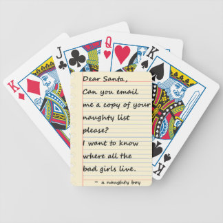 DEAR SANTA LETTER from a naughty boy Bicycle Playing Cards