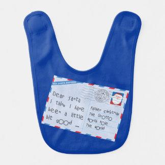 Dear Santa Little Bit Good Worn Blue Baby Bib
