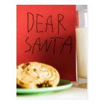 Dear Santa Milk and Cookies Christmas Post Card