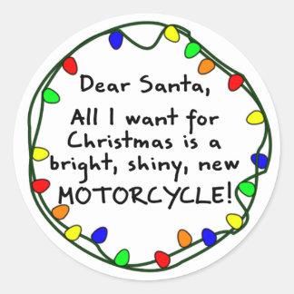 Dear Santa Motorcycle Round Stickers