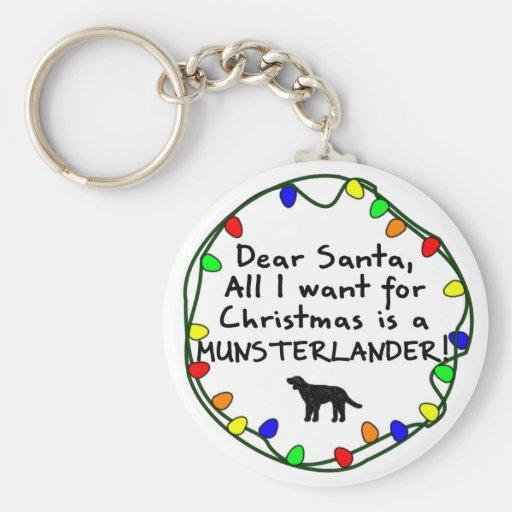 Dear Santa Munsterlander Keychain