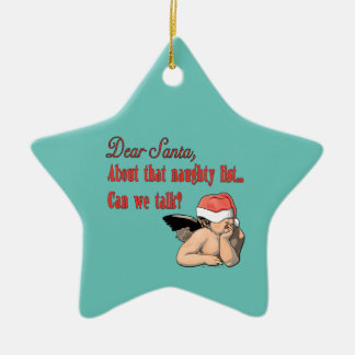 Dear Santa Naughty List Ceramic Ornament
