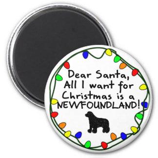 Dear Santa Newfoundland 2 Inch Round Magnet