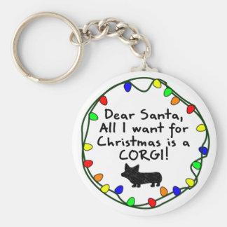 Dear Santa Pembroke Welsh Corgi Basic Round Button Keychain