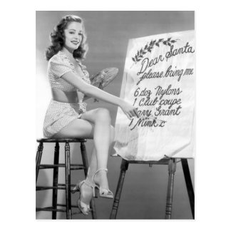 Dear Santa Pinup Girl Postcard