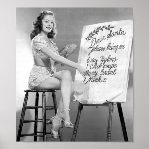 Dear Santa Pinup Girl Poster