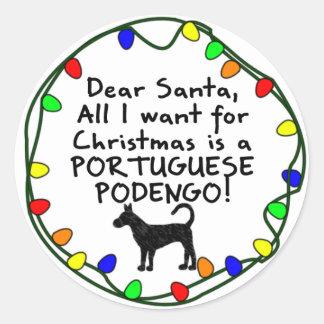 Dear Santa Portuguese Podengo Round Sticker