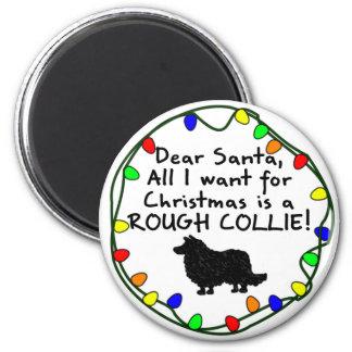 Dear Santa Rough Collie 2 Inch Round Magnet