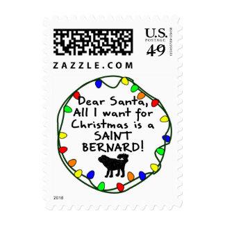 Dear Santa Saint Bernard Postage Stamp